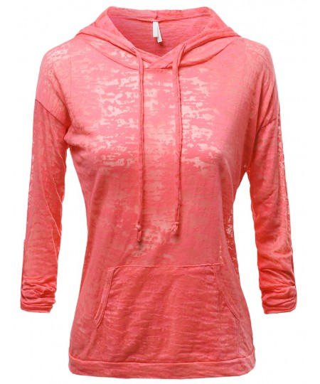 Women's Basic Solid Light Weight Burned Out Hoodie Tops
