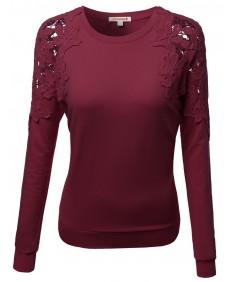 Women's Crochet Lace Shoulder Fleece Lined Thermal Top Tshirts