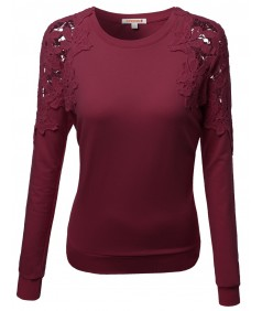 Women's Crochet Lace Shoulder Fleece Lined Thermal Top Tshirts