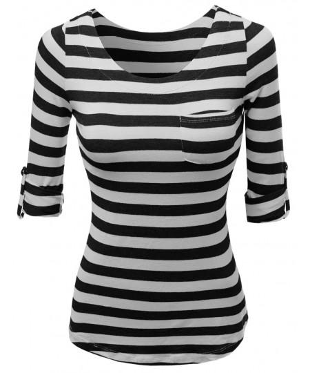 Women's Cute 3/4 Tabbed Sleeve Striped Basic Casual Tee Shirts Top