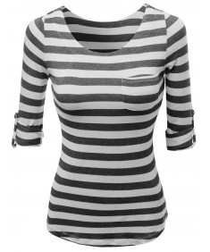 Women's Cute 3/4 Tabbed Sleeve Striped Basic Casual Tee Shirts Top