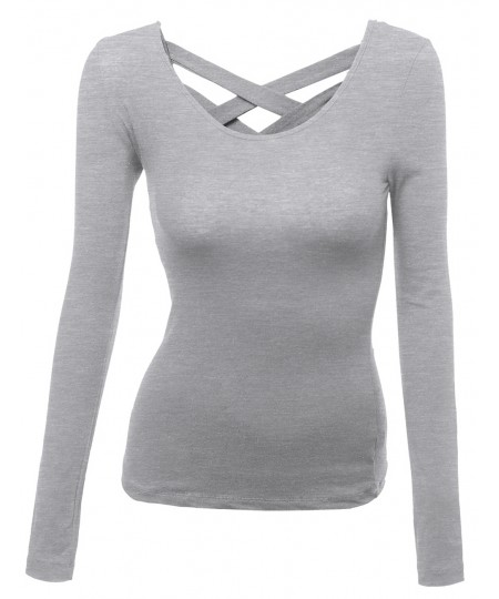 Women's Super Cute Back Strap Rould Neck Casual Basic Long Sleeve Top