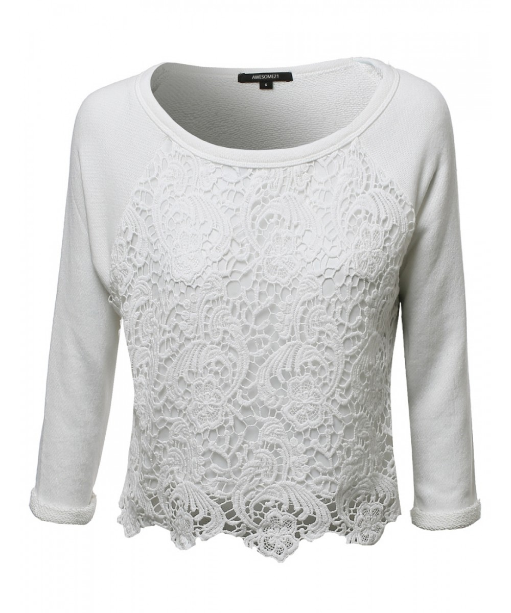 67db1b5ea98 Women's Long Sleeve Floral Crochet Overlay French Terry Crop Top