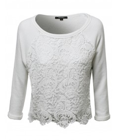 Women's Long Sleeve Floral Crochet Overlay French Terry Crop Top