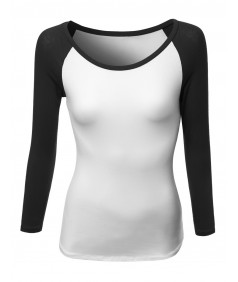 Women's Color Contrast Scoop Neck 3/4 Sleeve Baseball Tee