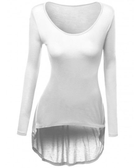 Women's Long Sleeve Rayon Spandex Stylish Top Tee
