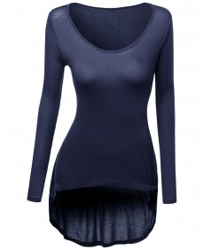 Women's Long Sleeve Rayon Spandex Stylish Top Tee