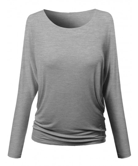 Women's Round Neck Shoulder Batwing Long Sleeve Tunic Long Top