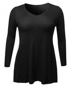 Women's V Neck 3/4 Sleeve Plus Size Long Top Tee