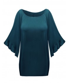 Women's Frill Sleeve Beautiful Drapey Soft Strechy Plus Size Top