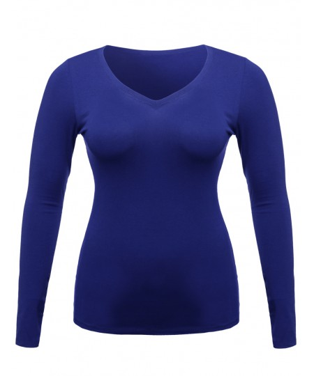 Women's Lightweight Daily Casual Basic Long Sleeve V Neck Tee