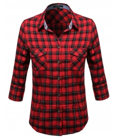 Women's Flannel Plaid Checker Rolled Up Shirts Blouse Top