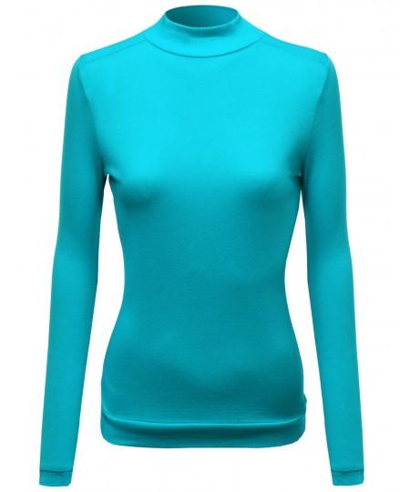 Women's Mock Turtle Neck Long Sleeve Knit Top Sweater
