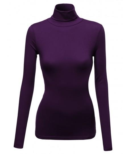 Women's Mock Turtle Neck Long Sleeve Cotton Spandex Top