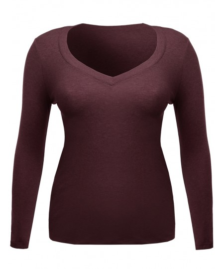 Women's Long Sleeve V-Neck Tee Plus Size