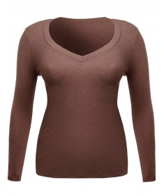 Women's Long Sleeve V-Neck Tee Plus Size