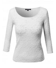 Women's Good Strechy 3/4 Sleeve Scoop Neck Lace Top