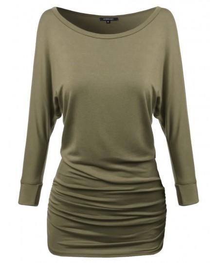 Women's Dolman 3/4 Sleeve Side Shirring Long Tee In Various Colors