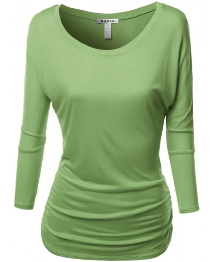 Women's Tunic 3/4 Sleeve Shirring Tops