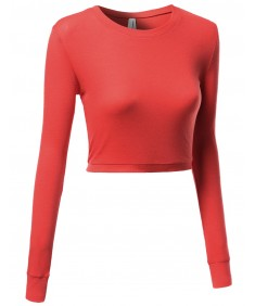 Women's Basic Solid Long Sleeve Round Neck Crop Sweater Tops