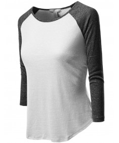 Women's 3/4 Color Contrast Sleeve Raglan Round Neck Baseball T-Shirt Tops