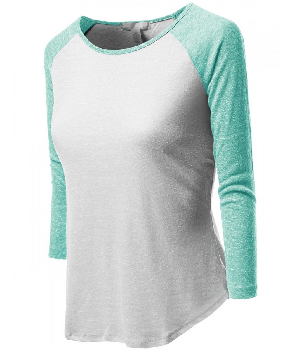 457f7c70 Women's 3/4 Color Contrast Sleeve Raglan Round Neck Baseball T-Shirt Tops