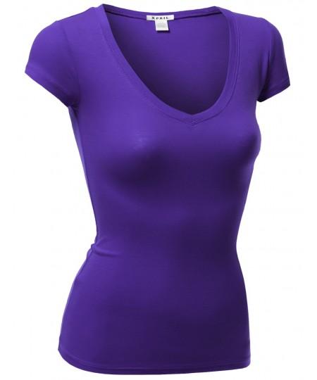 Women's Basic Cap Sleeve Tee Shirt Tops