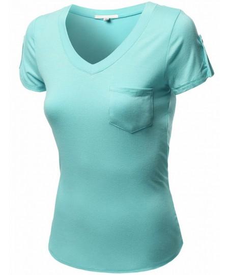 Women's Short Sleeve Decorative Button Epaulet Pocket V Neck T Shirt Tops