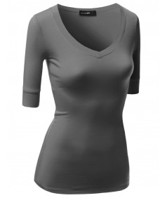 Women's Basic Solid Arm Sleeve V Neck T-Shirt Tops