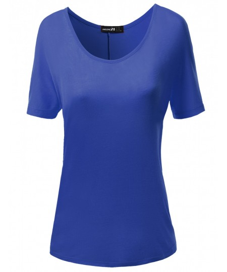 Women's Solid Boatneck Dolman T-Shirt Tops