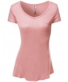 Women's Basic Pocket Short Sleeve T-Shirts