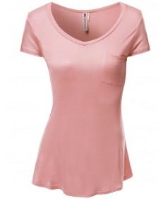 Women's Basic Pocket Short Sleeve T-Shirts