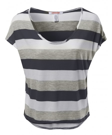 Women's Color Variation Striped T-Shirt Tops