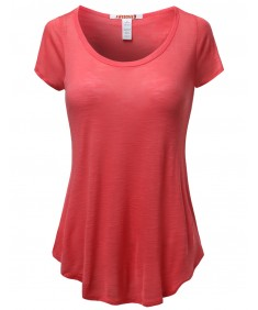Women's Basic Solid Short Sleeve Open Sides Tops