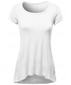 Women's Basic Scoop Neck Short Sleeve  Pocket Diphem T-Shirts