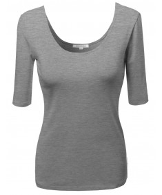 Women's Basic Solid Scoop Neck Various Color Short Sleeve Tee Top