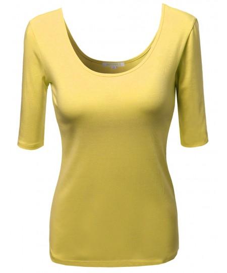 Women's Basic Solid Scoop Neck Various Color Short Sleeve Tee Top