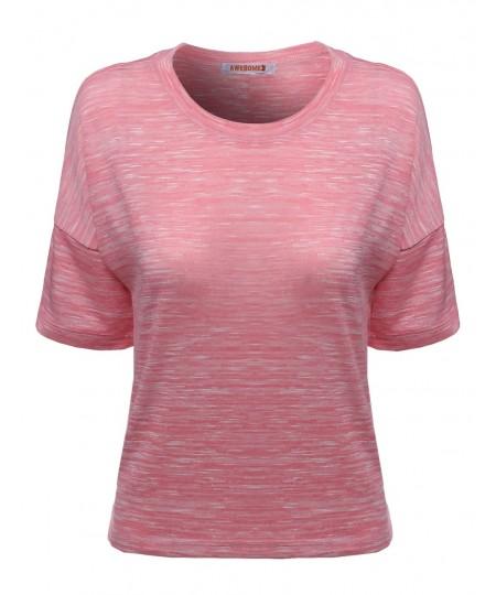 Women's Melanzie Round Neck Slub T-Shirts