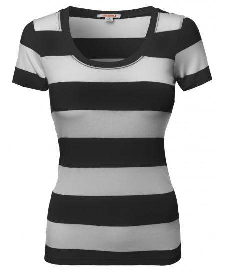 Women's Wide Stripe Short Sleeve Tee Shirts