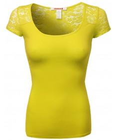 Women's Lace Shoulder Short Sleeves Tops