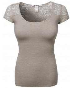 Women's Cute Lace Cover Shoulder Sexy Plus Size Short Sleeve Tee Tops