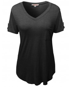 Women's Basic Soft Stretchy Jersey Vneck Short Sleeve Plus Size Tops