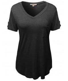 Women's Basic Soft Stretchy Jersey Vneck Short Sleeve Plus Size Tops