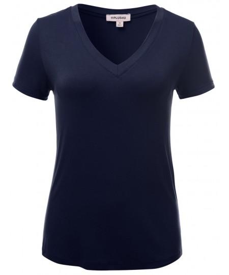 Women's Basic Solid Vneck Various Color Short Sleeve Plus Size Top