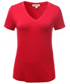 Women's Basic Solid Vneck Various Color Short Sleeve Plus Size Top