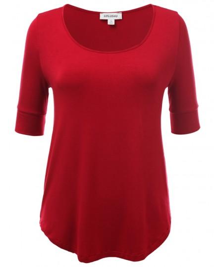 Women's Basic Solid Scoop Neck Short Sleeve Big Plus Size Top