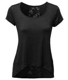 Women's Lace Contrast Detail Good Stretchy Rayon Spandex Top Tee