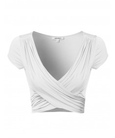 Women's Sexy Drapey V neck Crop Top