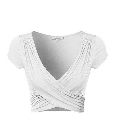 Women's Solid V-Neck Crossover Shirred Wrap Front Cap Sleeves Crop Top