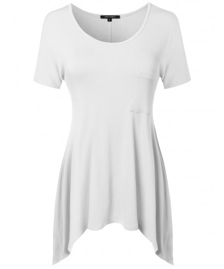 Women's Short Sleeve Solid Various Hem Top With Pocket